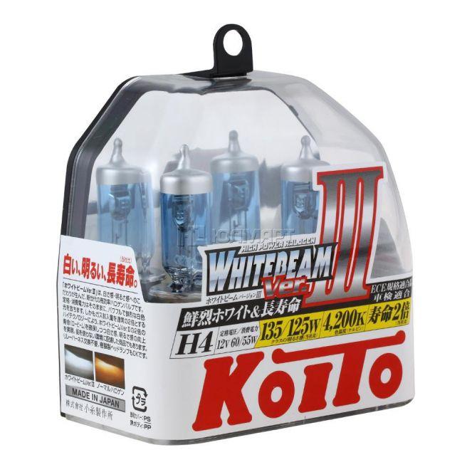 ЛАМПЫ KOITO 4200K H4 12V 60/55W=135/125W