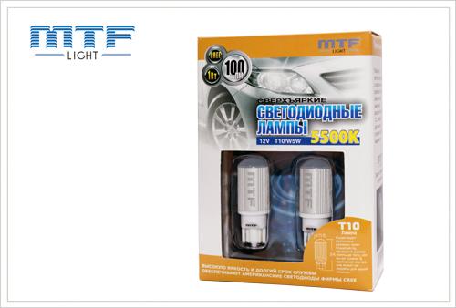 Светодиодная габаритная лампа MTF T10 / W5W 100lm CREE