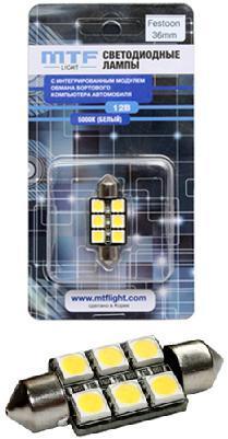 Светодиоды в подсветку салона, номерного знака MTF 36мм 6диодов 5000К c модулем обмана бортового компьютера шт.