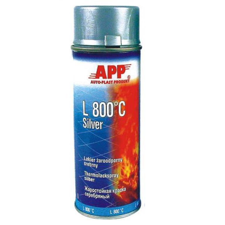 Эмаль термостойкая APP L 800 C Silver серебряная 400мл 210433